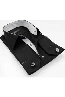 Dicotto Micro Kumaş Kol Düğmeli Slim Fit Siyah Gömlek - 202-2