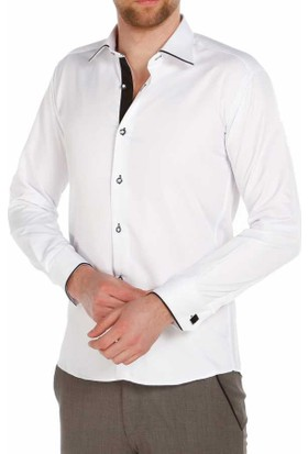 Dicotto Micro Kumaş Kol Düğmeli Slim Fit Beyaz Erkek Gömlek - 216-1