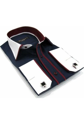 Dicotto Micro Kumaş Kol Düğmeli Slim Fit Lacivert Gömlek - 207-12Y
