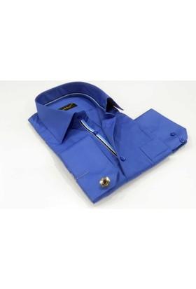 Dicotto Saks Klasik Kesim Micro Kumaş Kol Düğmeli Erkek Gömlek - 190-14