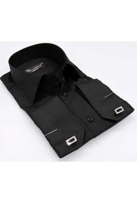 Dicotto Siyah Micro Kumaş Kol Düğmeli Slim Fit Düz Renk Gömlek - 199-2