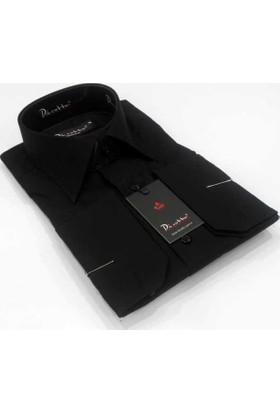 Dicotto Siyah Slim Fit Düz Renk Uzun Kol Erkek Gömlek - 151-20