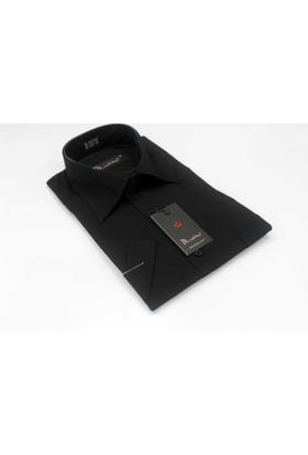 Dicotto Siyah Klasik Kesim Düz Renk Kısa Kol Erkek Gömlek - 500-20