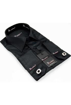 Dicotto Yakma Desen Micro Kumaş Kol Düğmeli Slim Fit Gömlek - Siyah 221-6
