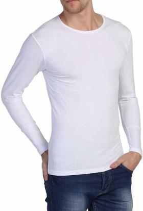 Dynamo Beyaz Sıfır Yaka Likralı Uzun Kol Basic Body Sweatshirt - 6285-Beyaz