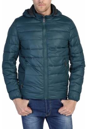 Dynamo Çift Taraflı Kapşonlu Slim Fit Kışlık Spor Erkek Şişme Mont - 3635-Yeşil