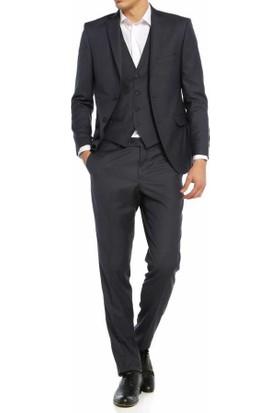 Lucas Düz Renk Slim Fit 6 Drop Yelekli Erkek Takim Elbise 304-Antra