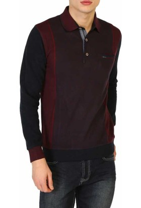 Mcl Polo Yaka Desenli Slim Fit Spor Erkek Sweatshirt - Mcl-28831-Bordo