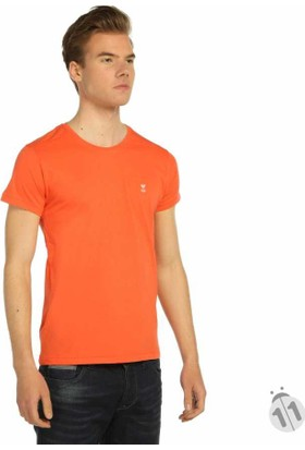 Mcl Sıfır Yaka Düz Renk Basic Erkek Tişört-T-Shirt - 22670-Mercan