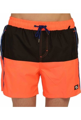 Miami Beach Su İtici Özellikli Erkek Havuz Deniz Şort Mayo - Çift Renkli- 746-Oranj