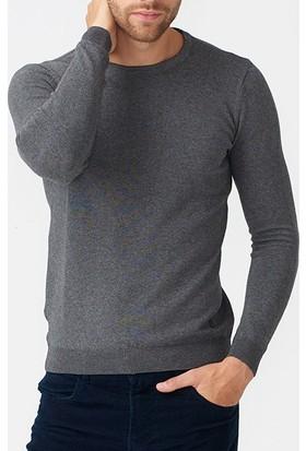 Xint Antra Melanj Sıfır Yaka Düz Renk Basic Erkek Kazak - 801204-Antra