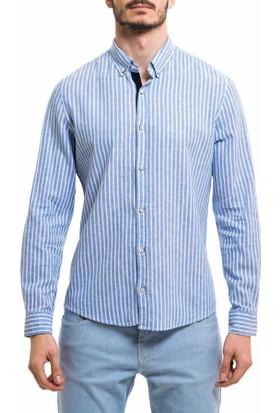 Xint Çizgili Desen Uzun Kol Spor Erkek Gömlek 700385-Mavi