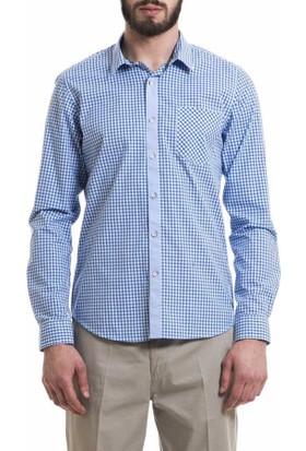 Xint Kareli Desen Uzun Kol Spor Erkek Gömlek 700406-Mavi