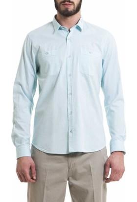 Xint Kendinden Desenli Uzun Kol Spor Erkek Gömlek 700392-Yeşil