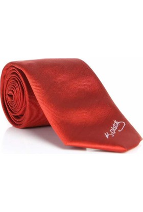 Gaffy Atatürk İmza Desenli Dokuma Kırmızı Kravat - Ak-19