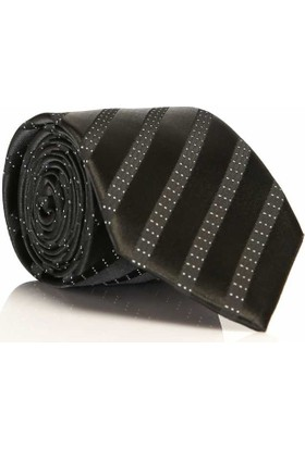 Gaffy Siyah Füme Beyaz Renk Dokuma Desenli Klasik Kravat -Kd-702