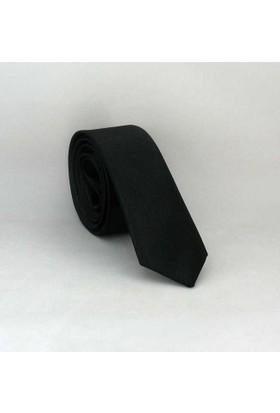 Gaffy Siyah Ultra Slim Fit Düz Renk Saten Kravat - Uss-01
