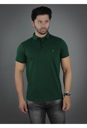 Brango 40128-1 Desenli Polo Yaka Yeşil T-Shirt