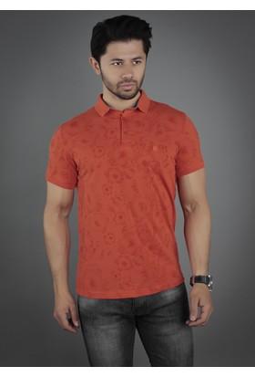 Brango 40129-6 Geniş Desenli Polo Yaka Turuncu T-Shirt