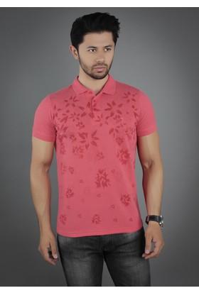 Brango 40130-3 Enigma Desenli Polo Yaka Pembe T-Shirt
