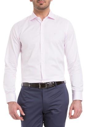Cacharel Slim Düz Windsor Yaka Gömlek Pembe