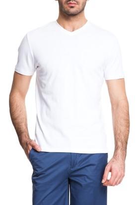 Cacharel Slim Düz V Yaka Liberty T-Shirt Beyaz