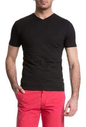 Cacharel Abal V Yaka T-Shirt Siyah