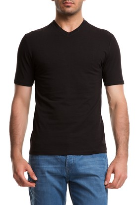 Cacharel V Yaka T-Shirt Siyah
