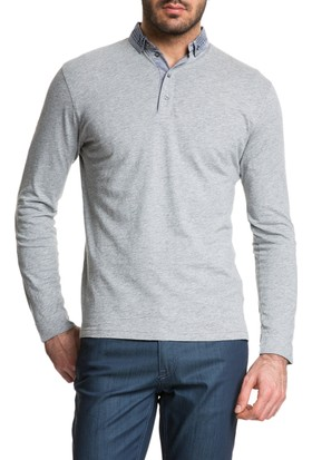 Cacharel Polo Yaka Sweatshirt Gri