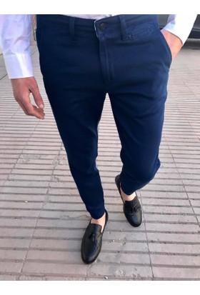 Oksit Craft Petek Desen Likralı Keten Pantolon-İndigo Mavi