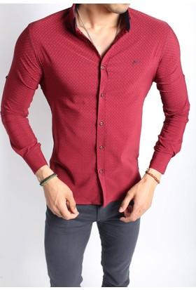 Oksit Sorte 0396 Slim Fit Likralı Gömlek - Bordo