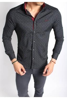 Oksit Sorte 0803 Nopeli Slim Fit Likralı Gömlek - Siyah