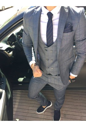 Oksit Ekoseli Kombin Takım Elbise-Koyu Gri/Mavi