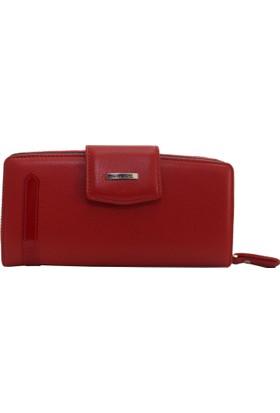 Gd 2714-K Grande Kırmızı Hakiki Deri Bayan Cüzdan - Kartlık