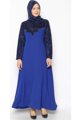 Güpür Detaylı Abiye Elbise - Saks - Sevilay Giyim