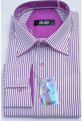 İksir Erkek Çizgili Rahat Kalıp Uzun Kollu Cepli Gömlek İK2018