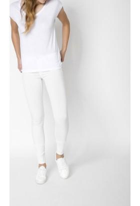 Pıeces Bayan Likralı Beyaz Pantolon 17080337 Slım-Fıt Jeans