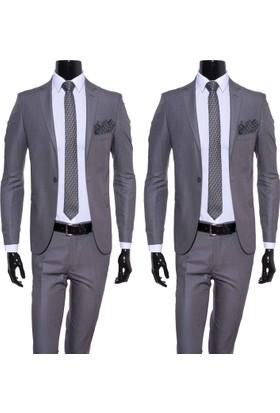 GiyimGiyim Gri Dar Kesim Erkek Takım Elbise