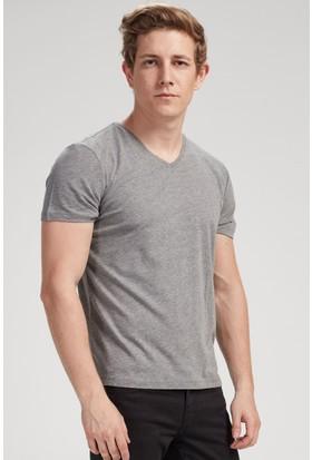 Vena Steve V Yaka T-Shirt Gri Melanj 1402737