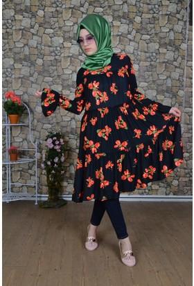 Modayns Fırfırlı Çiçek Tunik