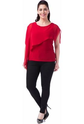 Francesca Ettore SF-1202 Kırmızı Büyük Beden Bayan Bluz