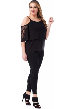 Francesca Ettore SF-1204 Siyah Büyük Beden Bayan Bluz
