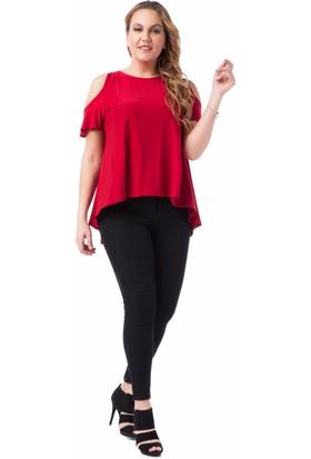 Francesca Ettore SF-1208 Kırmızı Büyük Beden Bayan Bluz