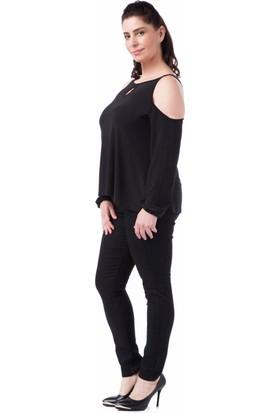 Francesca Ettore SF-1211 Siyah Büyük Beden Bayan Bluz