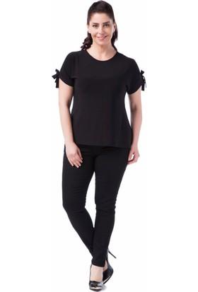 Francesca Ettore SF-1212 Siyah Büyük Beden Bayan Bluz