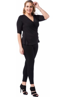 Francesca Ettore SF-1213 Siyah Büyük Beden Bayan Bluz