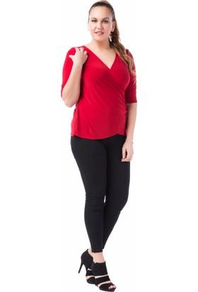 Francesca Ettore SF-1213 Kırmızı Büyük Beden Bayan Bluz