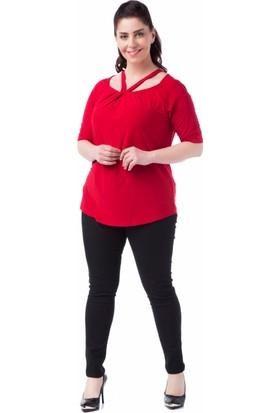 Francesca Ettore SF-1214 Kırmızı Büyük Beden Bayan Bluz