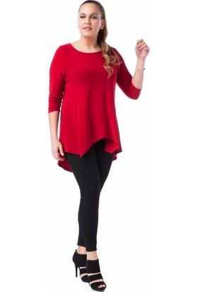 Francesca Ettore SF-1217 Kırmızı Büyük Beden Bayan Bluz