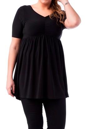 Francesca Ettore SF-1218 Siyah Büyük Beden Bayan Bluz